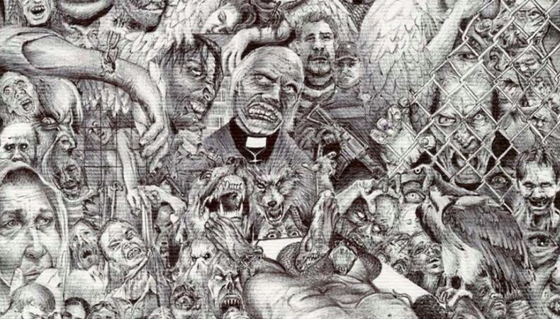 Sketch of tormented beings and faces