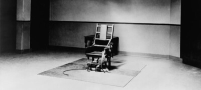 Electric chair in executioners room