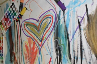 Drawing of heart with colorful markers