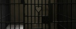 Jail cell with heart shape in bars