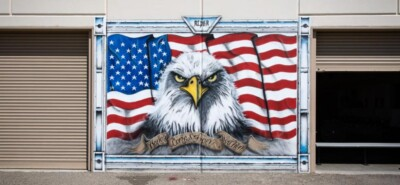 Mural of American flag and bald eagle