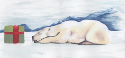 Drawing of polar bear laying down next to wrapped gift