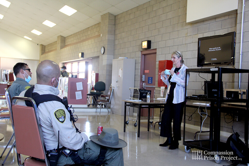 Fritzi speaking to Correctional Officers